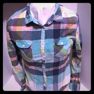 american eagle Small Button Down Shirt Plaid Blue